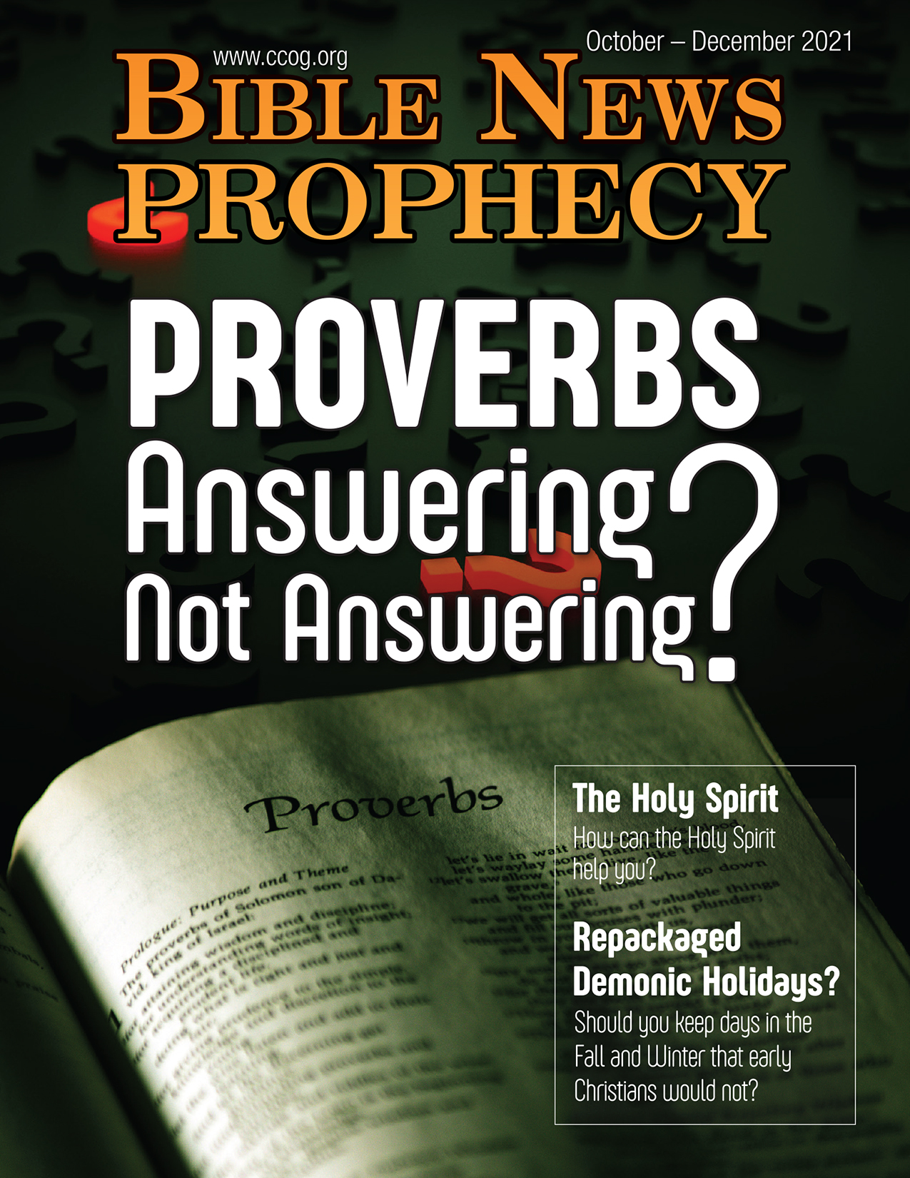 Bible News Prophecy October – December 2021: Proverbs Answering? Not answering?
